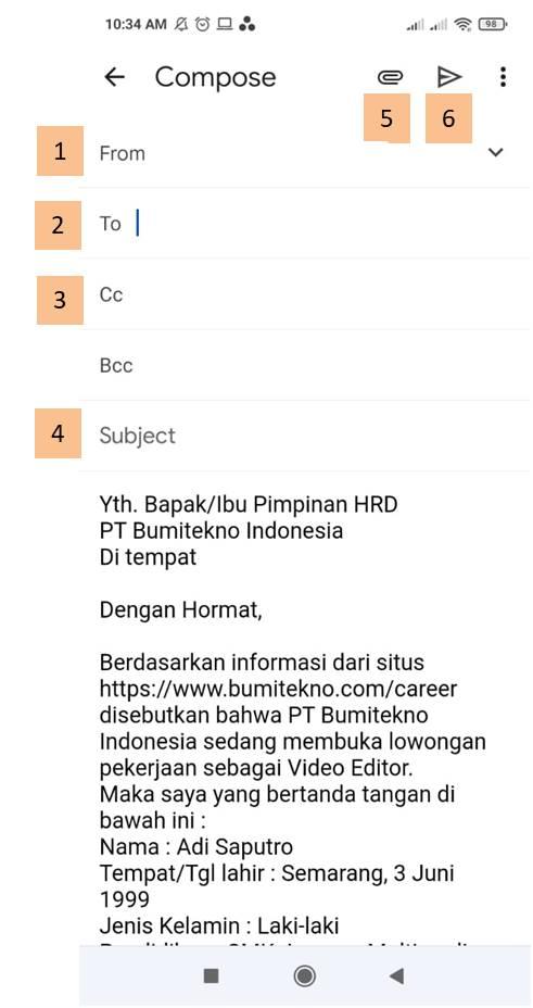 cara mengirim surat lamaran kerja email